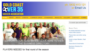 New website for Gold Coast Over 35 association