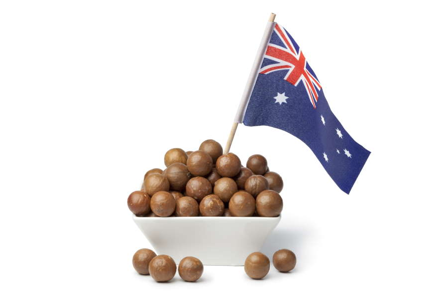Bowl with macadamia nuts and the australian flag on white background